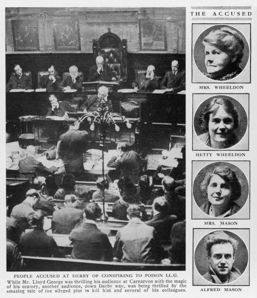 A courtroom scene in Derby during the trial of four alleged conspirators to poison the prime minister Lloyd George and several of his colleagues