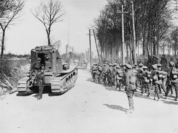 Whippet tanks of the 3rd Battalion at Maillet, some of which had been in action earlier in the day and were the first Whippet tanks to be in action
