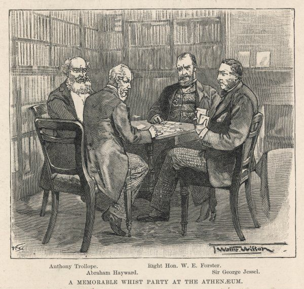 Anthony Trollope, Abraham Hayward, W E Forster and Sir George Jessel play whist at the Athenaeum Club, London