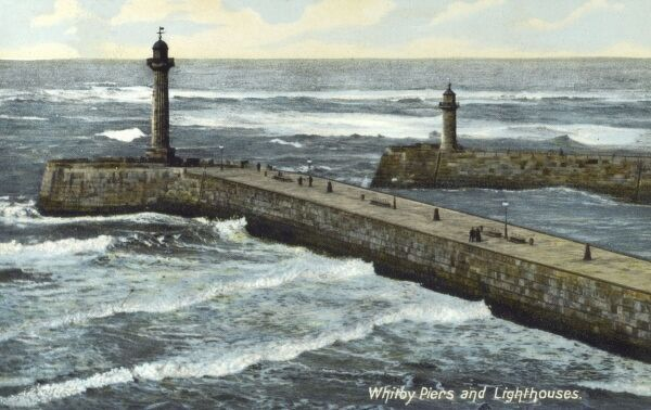 Whitby Piers and lighthouses, Yorkshire Date: circa 1909