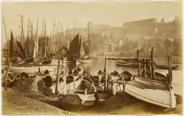Fishing boats in the harbour at Whitby, Yorkshire