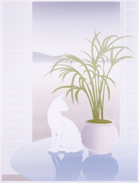 A highly stylised airbrush painting by Malcolm Greensmith of a white cat, sat atop a reflective pale blue round table alongside a vase of thin ferns
