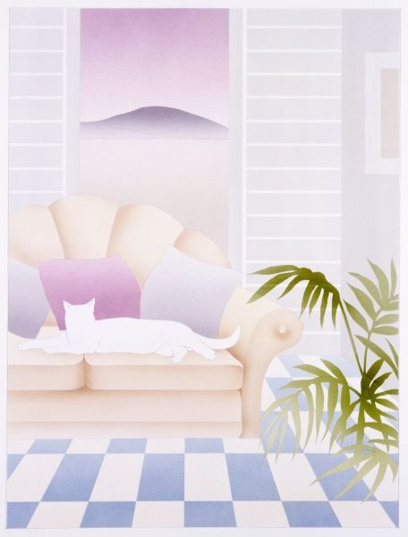 A stylised airbrush picture by Malcolm Greensmith, showing a white cat stretched out on a sofa with a purple landscape disappearinginto the distance through a pair of shutters