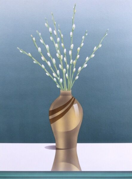 A bunch of white catkins arranged in a stylish golden glossy vase. Airbrush painting by Malcolm Greensmith