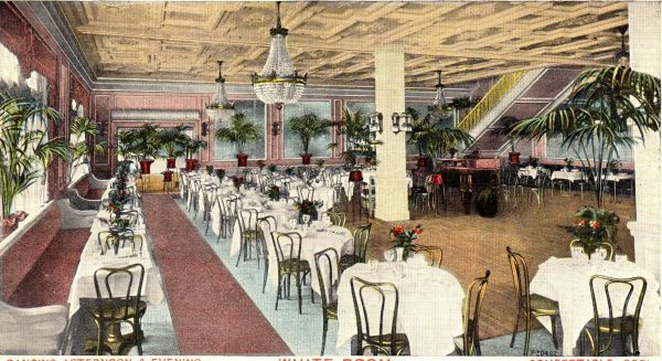 The interior of the White Room at the Palais de Danse Restaurant, New York - part of the Winter Garden Theatre complex at Broadway & 50th Street Date: 1910-1920
