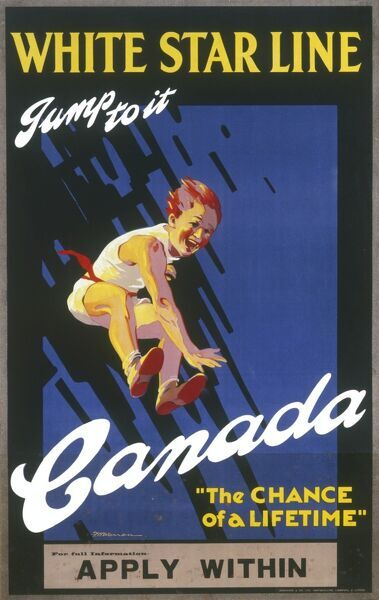 "Poster produced by White Star Line encouraging people to ""jump to it"" for the chance of a lifetime - to emigrate to Canada. The poster features an incredibly enthusiastic looking leaping man!"