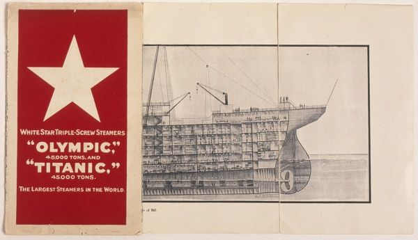 A White Star Line booklet containing plans of the Olympic and Titanic triple-screw steamers. Part of a cross-section plan can be seen, revealing the various levels towards the prow of the ship