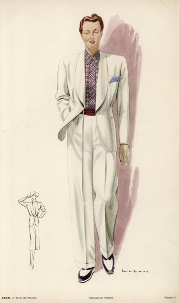 White trouser suit with single button & long collar based on a man's casual suit. Worn with a red scarf as a belt, a checked shirt and 3 colour loafers