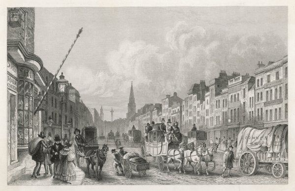 Busy traffic in Whitechapel High Street - coaches, carriages, wagons and pushcarts fill the roadway