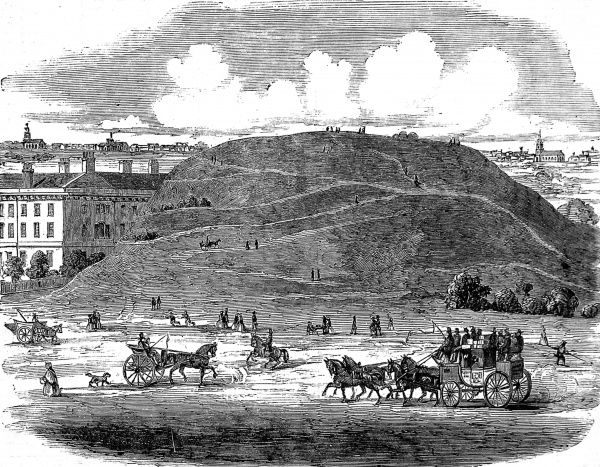 Engraving showing the Whitechapel Mount, a small hill which was levelled by the Corporation of London, in 1807-8, in order to make way for more housing