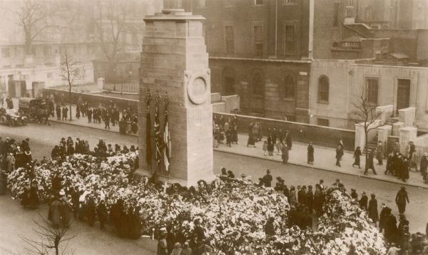 Whitehall: the Cenotaph soon after an Armistice Day commemoration
