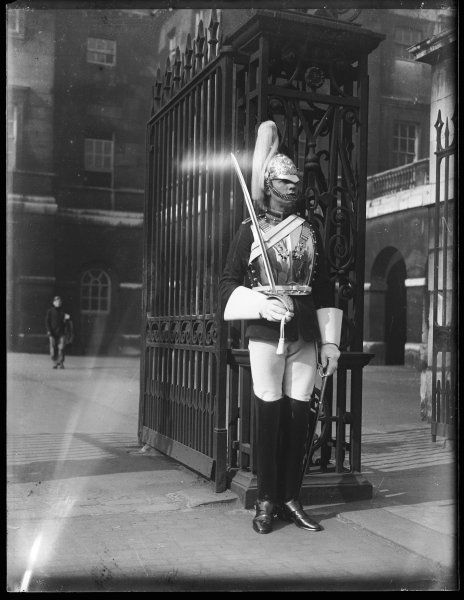 A smart guard in his uniform at Whitehall, central London, England