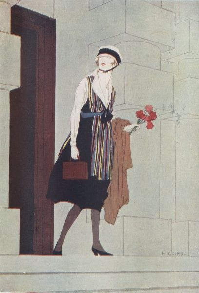 A fashionable young woman emerges from an office in Whitehall, London during World War One where she has been working, in place of men who are away fighting
