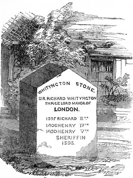 Engraving showing the 'Whityngton Stone', a memorial to Sir Richard Whittington (1358-1423), London, 1854. This stone was placed on the spot in Upper Holloway where he was traditionally supposed to have sat ruminating on his poor fortune