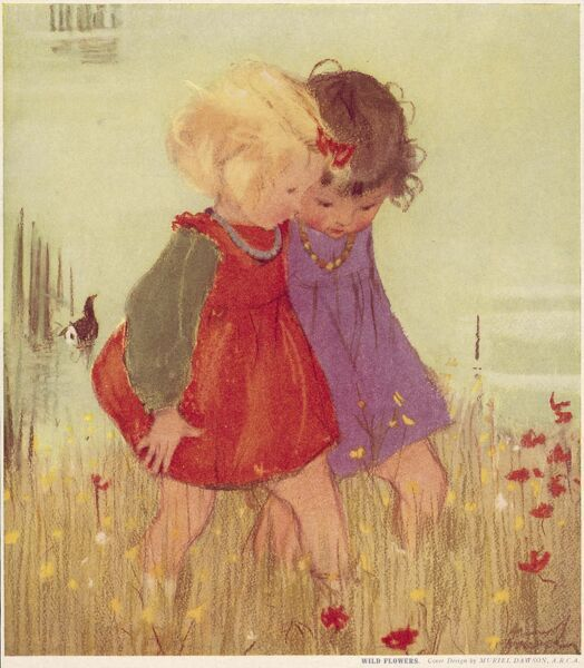 Two little girls walk together through a field of wild flowers