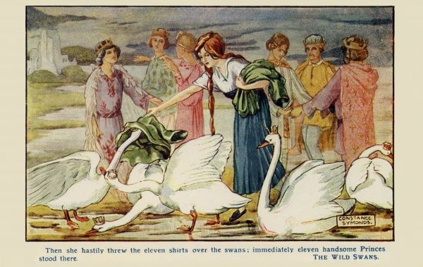 The Wild Swans -- they are turned into handsome princes.  early 20th century