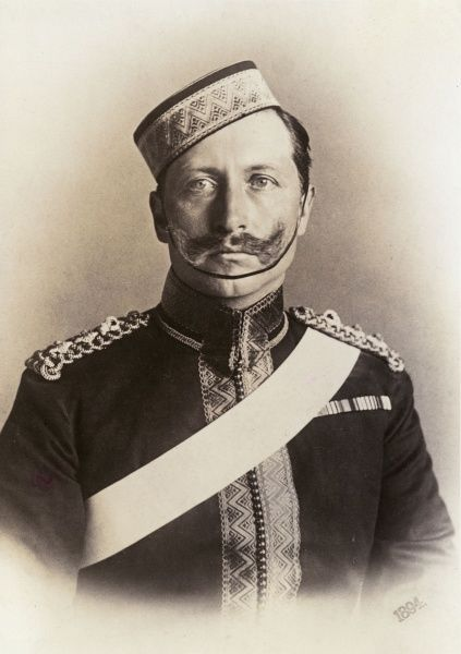 WILHELM II, Queen Victoria's favourite grandson, photographed wearing an English army uniform, in 1894
