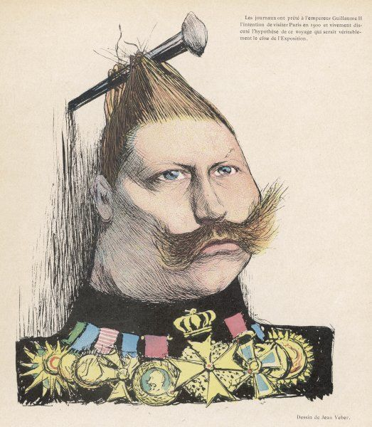 WILHELM II German Emperor: a satirical comment on his intention to visit Paris in 1900 to attend the Exhibition