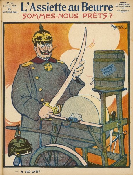 "WILHELM II German Emperor sharpens his sword and says ""I'm ready!&quot"