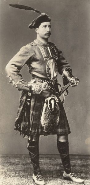 WILHELM II, As a young man, in Scottish military uniform, including kilt, badger sporran and beret with a feather in it