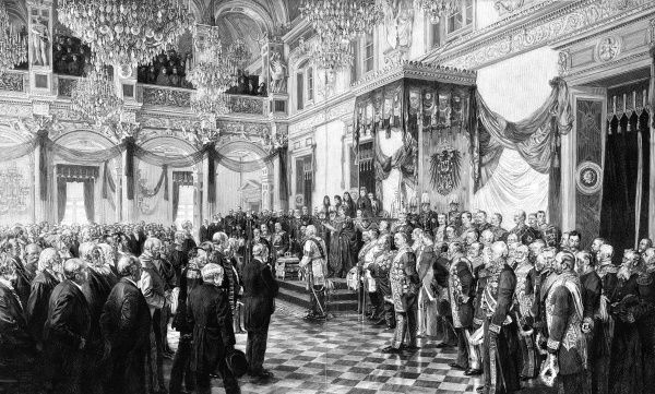 Kaiser Wilhelm II opening the White Hall of Berlin Castle (Reichstag). Date: 25 June 1888