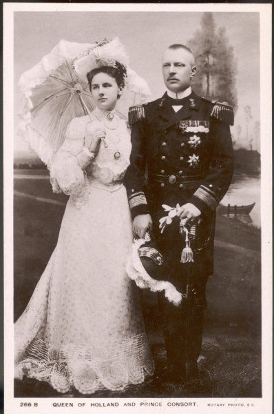WILHELMINA, QUEEN OF HOLLAND Reigned 1890-1948 - seen here with her husband, Heinrich, Duke of Mecklenburg-Schwerin