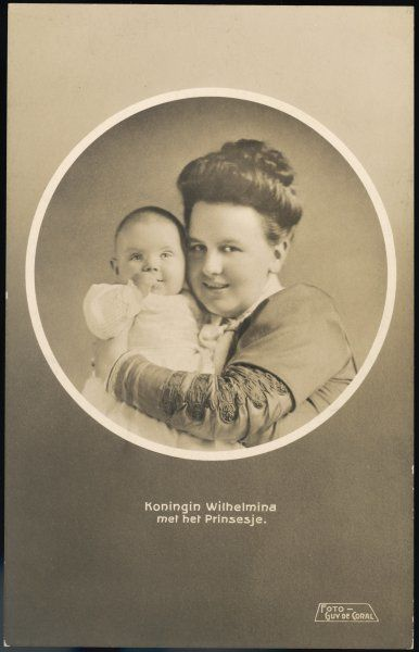 WILHELMINA, QUEEN OF HOLLAND Reigned 1890-1948 - she abdicated in favour of her daughter Juliana, seen here as a baby