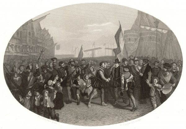 Willem van Oranje, known as de Zwiger (the Silent) meets with other patriots at Enkhuizen : outlawed by the Spanish, he is now acknowledged as the leader of Dutch independence