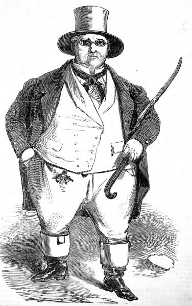 Engraving showing William Ball (1795-1852), an Englishman from Shropshire, who came to be nicknamed 'John Bull' on account of his weight - 40st. In 1851 he attended the Great Exhibition in London as a celebrity guest / exhibit