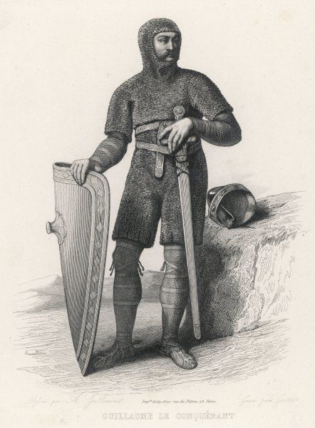 WILLIAM I THE CONQUEROR dressed for conquest in his suit of mail, with broadsword and shield