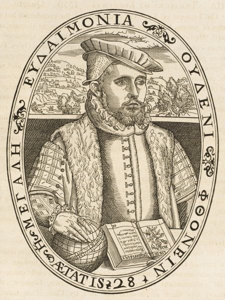 WILLIAM CUNINGHAM astrologer and engraver - he may have engraved this portrait of himself for his 'Cosmographical Glasse' printed by John Day in 1559