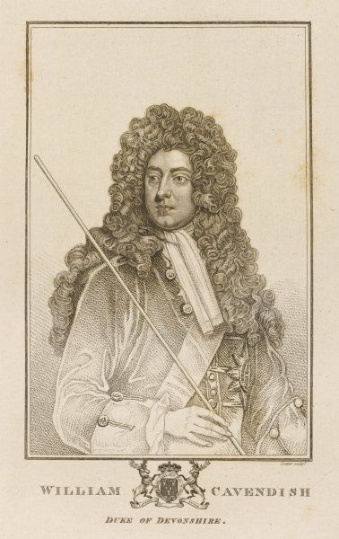 WILLIAM CAVENDISH, second duke of DEVONSHIRE soldier and statesman, noted for opposing the South Sea scheme which he looked upon as a nefarious trick