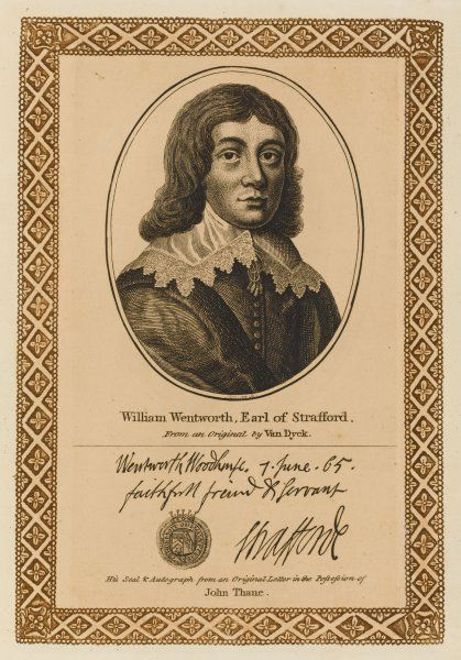 WILLIAM WENTWORTH, second earl of STRAFFORD statesman. with his autograph