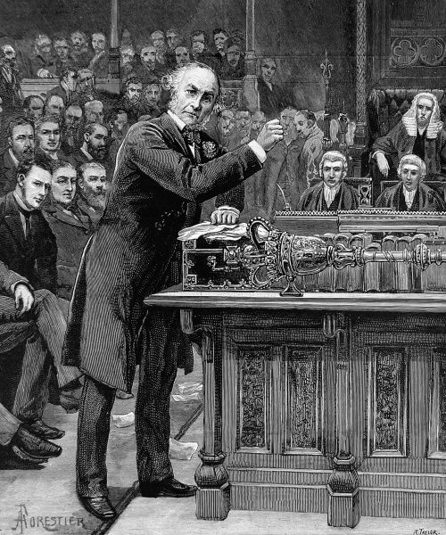 Engraving showing W.E. Gladstone (1809-1898) explaining to the House of Commons his scheme for the Government of Ireland, 8th April 1886