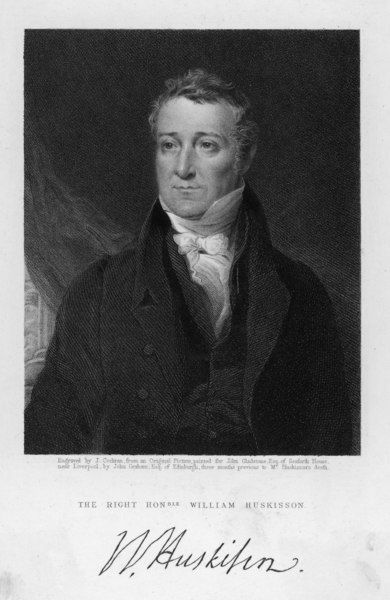 WILLIAM HUSKISSON English Politician. Britain's first Railway fatality when he crossed in front of Stephenson's 'Rocket&#39