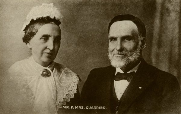William Quarrier (1829-1903) with his wife Isabella. Quarrier, a successful shoemaker from Greenock, Renfrewshire, took an interest in the welfare of deprived street children. In 1878, he opened a cottage homes development at the Bridge of Weir