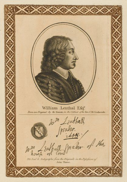WILLIAM LENTHALL statesman whose conduct during the commonwealth was often ambiguous and controversial. with his autograph Date: 1591 - 1662
