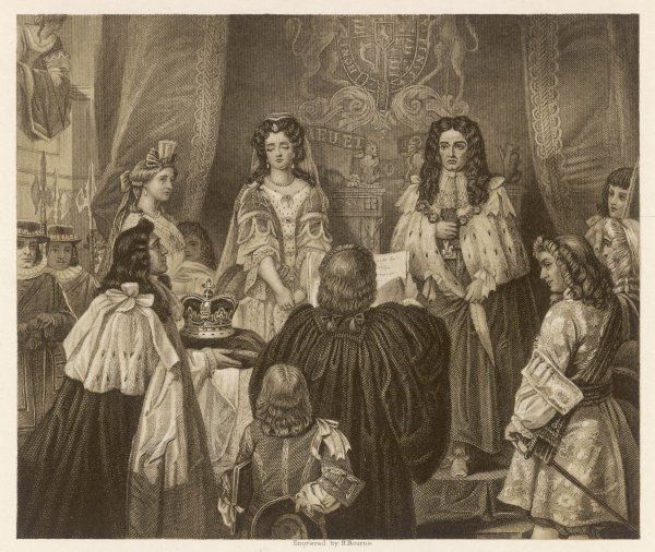 WILLIAM & MARY ARE OFFERED THE ENGLISH CROWN AT WHITEHALL : THEY ACCEPT IT