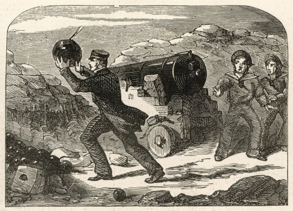 Captain William Peel (1824 - 1858) depicted in the act of bravery that won his first Victoria Cross during the Crimean War, namely throwing a live Russian shell back over the parapet to prevent the explosion of the British powder and ammunition
