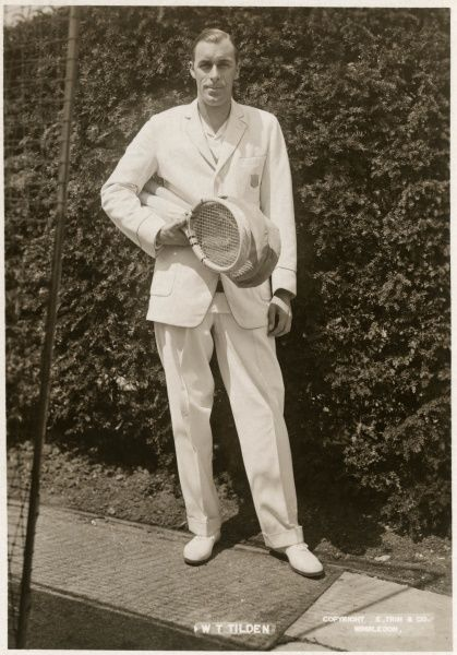 William T Tilden, the American champion of Wimbledon in 1920, 1921 and 1930