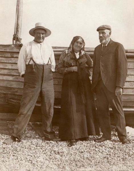 William Thomas Burgess (right) at Walmer after his successful channel swim, which took place on 5-6 September 1911. He was the second person to swim the channel after Captain Matthew Webb in 1875. With him are his mother, Mrs Burgess, and Captain H W Pearson
