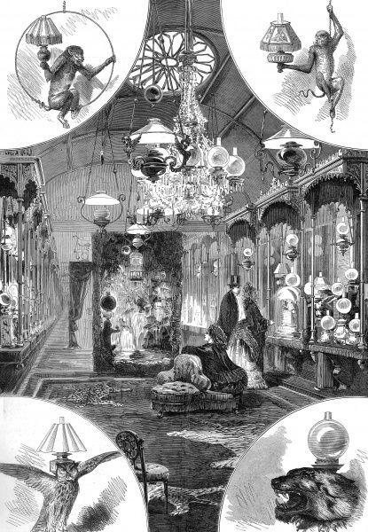 The interior of Williams and Bach's New Saloon at 92 Bond Street, London, a lighting emporium selling a vast range of lamps and light fittings - still a relative novelty in the 1870's