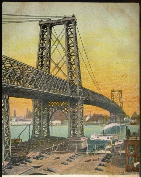 The Williamsburg Bridge over the East River, New York