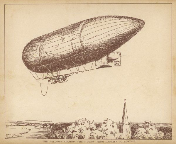 Pioneer aviator Willows flies his airship number 9 from Cardiff to London