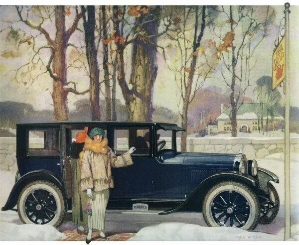Willys-Knight Sedan. Illustrator Anon. From a contemporary colour advertisement. Date: 1923