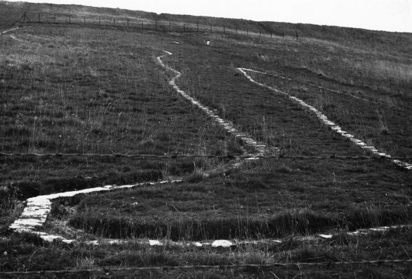 The right foot of the Wilmington Long Man' (or giant), cut in the chalk on the South Downs, England. It is about 230 feet in height. Date: 1930s