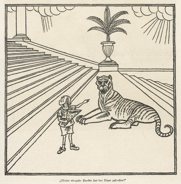 'The Tiger has stolen my Fourteen Points'. President Wilson shown as a small boy complaining that the 'tiger' Clemenceau has stolen his 14 point peace plan