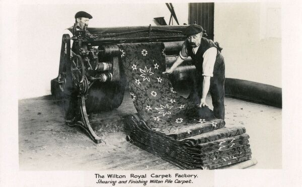 Shearing and Finishing Wilton Pile Carpet at The Wilton Royal Carpet Factory, Wilton, Wiltshire Date: circa 1903