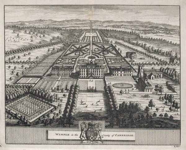 WIMPLE in the County of CAMBRIDGESHIRE. A bird's-eye view of the hall built in 1643 showing formal gardens, tree- lined walks, a deer park and extensive parkland