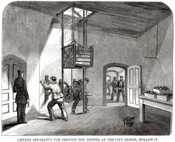 Winch-operated dinner lift at London City Prison and House of Correction, Holloway. Date: 1862
